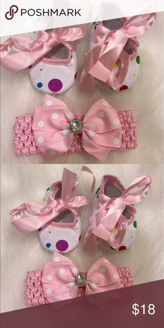 Baby Girl Shoes and headband set New includes headband and shoes perfect for baby shower or for your little one . Shoes Baby & Walker