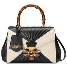 GUCCI Queen Margaret quilted leather top handle bag - black and white quilted leather. White Leather Handbags, Leather Clutch, Leather Purses, Sacs Design, Quilted Handbags, White Handbag, Fashion Bags, Fashion Goth, Shoes