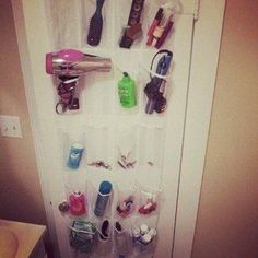 Apartment Decorating on a Budget. Using   shower curtains for curtains in other rooms and an over the door shoe organizer   for toiletries.. Smart!