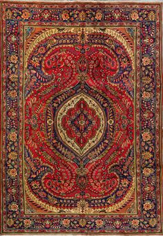 "Tabriz Persian Rug, Buy Handmade Tabriz Persian Rug 6' 11"" x 9' 10"", Authentic Persian Rug $985"