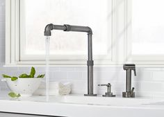 These industrial style faucets by Watermark are very, very cool. And they will instantly lift the stature of any space you place them in. We've written about the Elan...