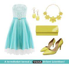 Elegáns és könnyű nyári szett: Kék csipke és tüll ruha sárga kristály bizsukkal és lakk kiegészítőkkel a Trend2 Brilant üzletéből!