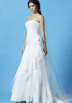 Modern Floor Length A line Chiffon Strapless Asymmetric Waist Wedding Dress - 1300103757B - US$219.99 - BellasDress