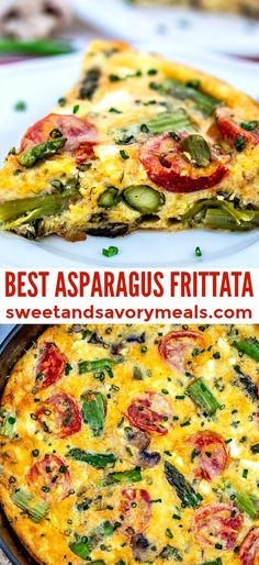 Asparagus Frittata is an easy recipe that involves eggs, herbs, and the spring vegetable! Enjoy this dish this spring and even all year round! # Easy Recipes vegetables Asparagus Frittata [video] - Sweet and Savory Meals Asparagus Frittata, Vegetable Frittata, Healthy Breakfast Recipes, Vegetarian Recipes, Healthy Recipes, Breakfast Dishes, Egg Recipes, Cooking Recipes, Dinner Recipes