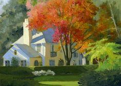 """""""WHITE HOUSE ON RAYNAM ROAD"""" - Original Fine Art for Sale - © Nancy Herman"""