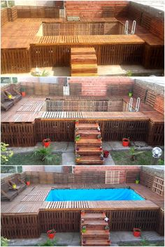Fun Pallet Projects To Create Awesome Creations: Recycled wood pallet furniture has become popular these days because of its multi-functional utility. Pallet Pool, Pallet Decking, Pallet House, Diy Swimming Pool, Diy Pool, Wood Pallet Furniture, Wood Pallets, Deck Furniture, Furniture Plans