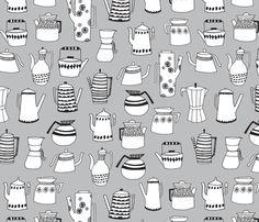 Coffee and Tea - Light Grey by Andrea Lauren fabric by andrea_lauren on Spoonflower - custom fabric