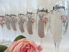 THE ORIGINAL ARTIST of the Hand Painted Bridesmaid Champagne Glasses - Bridal Glassware - Bridesmaid Flutes