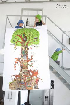 Wallpaper. Introduce the inhabitants of the secret tree to your child. Each of them has their own story. Perhaps instead of reading a bedtime book, or apart from doing it, just tell your child about a vixen who's reading a fairy tale to her little foxes while their neighbour Mr Marten is enjoying his tea. The tree Who lives here resembles a place where you are forced to live, often with random neighbours and everyone keeps being focused on their own, tiny patch of space.