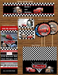 Disney's Cars Printable Party Bundle/ Mater & Mcqueen invitation and Party Favors/Disney's Cars DIY Party Package
