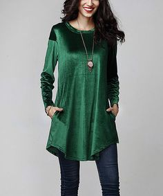 Another great find on #zulily! Emerald Velvet Side-Pocket Tunic #zulilyfinds