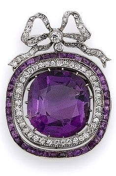 An early century amethyst and diamond brooch The cushion-shaped amethyst drop within an articulated double border of single-cut diamonds and calibré-cut amethysts, suspended from an associated old brilliant and single-cut diamond tied ribbon bow surmount. Purple Jewelry, Amethyst Jewelry, Gems Jewelry, Gemstone Jewelry, Fine Jewelry, Temple Jewellery, Jewellery Box, Crystal Jewelry, Jewelry Art