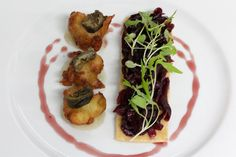 palette spring/summer menu 2014 red onion marmalade tart, blue cheese fritter, pickled walnut & pear