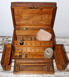 Wood Sewing Organizer Box Antique.