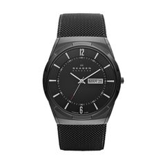 Aktiv Black Mesh Men's Titanium Watch A signature Skagen stainless steel mesh band connects to a slim, round case made of lightweight titanium. Numbers and luminous indexes pop against the matte black dial.