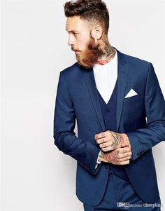 Wholesale 3 Piece Suit Custom Made Groom Tuxedos Blue Business Suits Classic Sequin White Blazer Men Fashion Mens Tux Bridegroom Jacket Pant Tie MS002, Free shipping, $89.01/Piece | DHgate Mobile