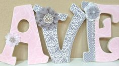 Custom Nursery Letters- Baby Girl Nursery Decor-Pink and Grey- Personalized Name- Wooden Hanging Letters -Wall Letters- The Rugged Pearl by TheRuggedPearl on Etsy