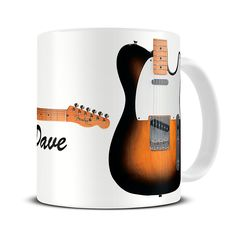 MG215 Magoo Personalised Telecaster Guitar Coffee Mug – gift for guitar player - sunburst telecaster
