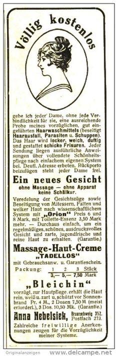 Original-Werbung/Anzeige 1918 - KOSMETIK NEBELSIEK BRAUNSCHWEIG  - ca. 45 x 150 mm