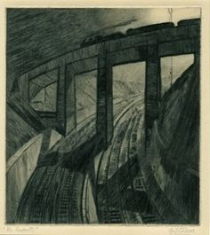 CYRIL EDWARD POWER (1874-1951)  View along curved railway track, train crossing viaduct overhead. c.1929 Drypoint, on thick cream paper Contemporary Abstract Art, Modern Art, Drypoint Etching, Linoleum Block Printing, Magazine Illustration, Landscape Drawings, Art And Architecture, Architecture Portfolio, Architectural Features
