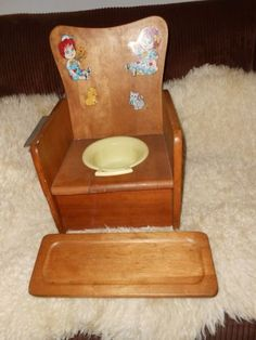 Vintage Wooden Childu0027s Potty Chair And Tray With Raggedy Ann And Andy Decals  | EBay