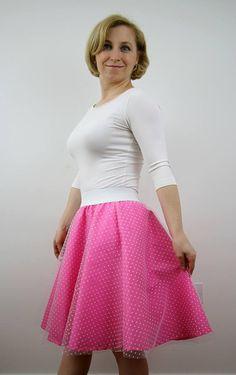 Pink polka dot tulle skirt for women circle skirt pink