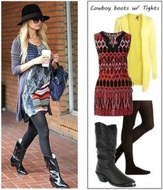 How to wear cowboy boots with tights by Creative Fashion, via Flickr
