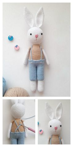 Crochet Bunny Pattern, Crochet Amigurumi Free Patterns, Crochet Stitches Patterns, Crochet Dolls, Free Crochet, Crochet For Beginners Blanket, Amigurumi Doll, Stuffed Toys Patterns, Crochet Projects