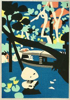 Hide Kawanishi ~ Pond, 1957 (woodblock print)