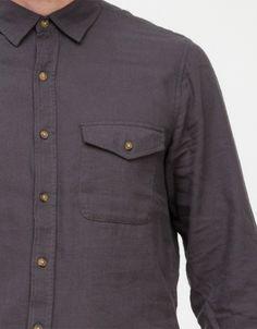 Long Sleeve Grey Flannel Shirt