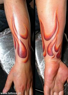 These are some of the better looking flame tattoos I've seen. Sharp. http://www.pinterest.com/Zombieee420/