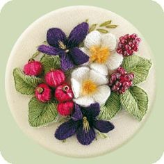 Violet, Posey & Berries stumpwork free design download. Raised embroidery instructions.
