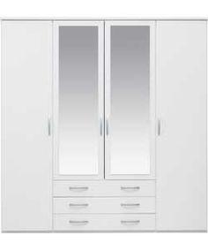 Buy Hallingford 4 Door 3 Drawer Mirrored Wardrobe - White at Argos.co.uk - Your Online Shop for Wardrobes.