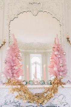 gold + pink holiday mantel | CJK Visuals