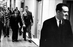 Prison guards accompany Perry Smith, at left in suit coat, and Richard Hickock, right, as they head  to the federal courthouse in Topeka to make their last appeal. In Cold Blood, Blood Photos, Famous Murders, True Crime, Federal, Lent, Clutter, Will Smith, Prison