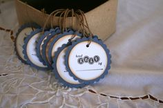 Hand knit tags hand stamped hand knit tags by Justabitofpaper, $3.69