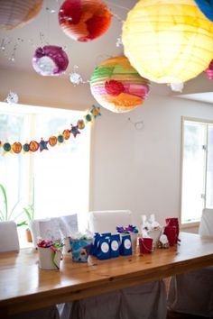 cool solar system created using different size paper lanterns - fun idea for over a reading nook