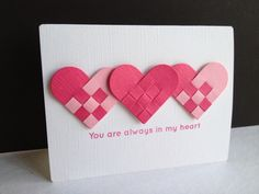 handmade Valentine cad from Im in Haven: Danish Hearts . traditional Scandinavian woven hearts in bright pinks . Valentine Love Cards, Valentine Crafts, Valentine Ideas, Holiday Cards, Christmas Cards, Marianne Design, Heart Cards, Anniversary Cards, Scrapbook Cards