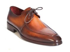 - Brown hand-painted calfskin upper - Derby style dress shoes for men - Antique finished leather sole - Bordeaux leather lining and inner sole This is a made-to-order product. Please allow 15 days for