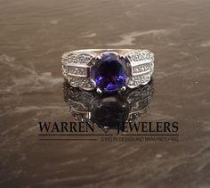 Purple Sapphire set in vintage style engagment ring. Seattle Custom Jewelry, Custom Made, Custom Design | Warren Jewelers