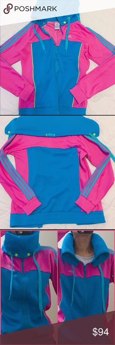 """NWOT rare adidas colorful versatile track jacket Super rare and cute adidas colorful track jacket. Never worn, washed once. Has a unique neckline, you can style it however you want! Zip closur and 2 side pockets. The tag says UK12, I think it's more like a medium fit. Total length: 31"""", armpit to armpit: 22"""", sleeve: 30"""". Feel free to ask any questions if you have. Thank you 😊 Adidas Jackets & Coats"""