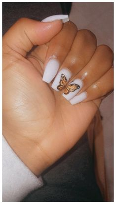 Acrylic Nails Coffin Short, Simple Acrylic Nails, Best Acrylic Nails, Simple Nails, White Coffin Nails, Squoval Acrylic Nails, Orange Acrylic Nails, Coffin Nails Ombre, Pink Coffin