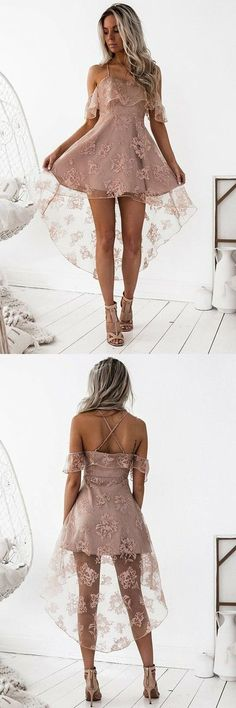 A-Line High Low Blush Sleeveless Lace Homecoming Dress,Spaghetti Straps Off The Shoulder Mini Short Homecoming Prom Dress