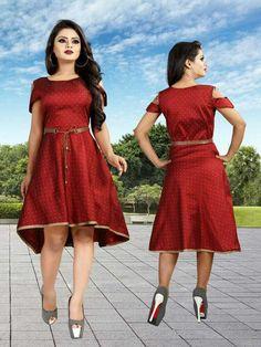 Tapeta Buti Maroon Indian Party Wear One Peace Gown For Women's Wear Party Wear Long Gowns, Fancy Gowns, Western Gown, Western Wear, Maroon Gowns, Fancy Kurti, Casual Wear Women, Printed Gowns, Indian Party Wear