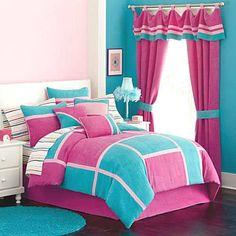 NEW Girls Pink Aqua Twin Comforter 9pc POSH Microsuede Sham Sheets Val+Set $360 #OnMyOwn