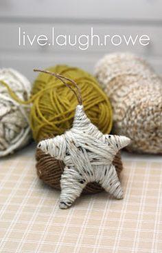 Yarn Wrapped Star Ornament {DIY Tutorial} Cardboard shape, glue gun, yarn. Pretty simple but very cute.