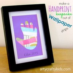 Gorgeous Handprint keepsake made out of wallpaper strips! great way to turn recycled materials into something meaningful!