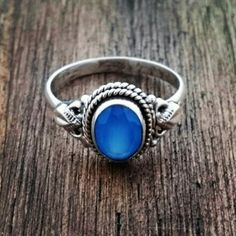 Anel com calcedônia azul 20201