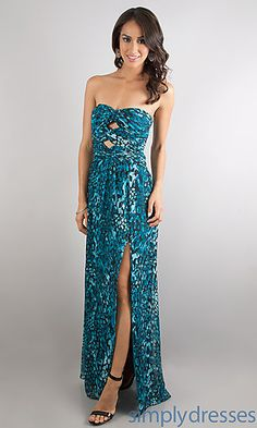 Floor Length Strapless Print Dress at SimplyDresses.com