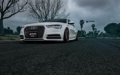 Download wallpapers Audi A6, tuning, 2017 cars, Vossen, supercars, low rider, C7, white A6, Audi